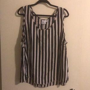 Off White & Black Striped Sleeveless Blouse